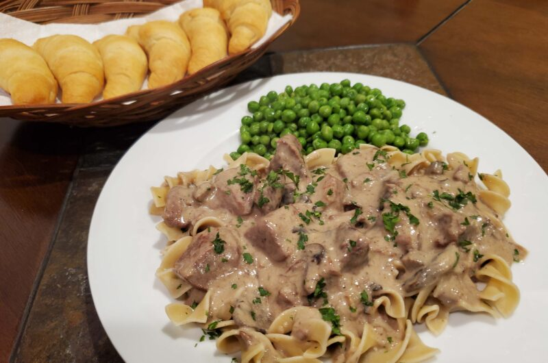 Slow Cooker Creamy French Onion Beef Stroganoff
