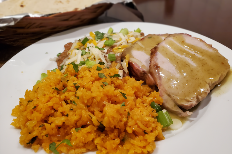 Mexican Roasted Pork Loin with Refried Beans